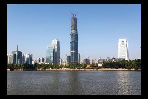 The Guangzhou international finance centre is the tallest building designed by a British Architect. Dubbed the West Tower there are plans for an identical twin to the east.
